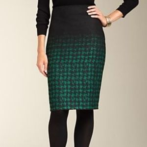 Talbots Ombre Houndstooth Fuzzy Wool Pencil Skirt